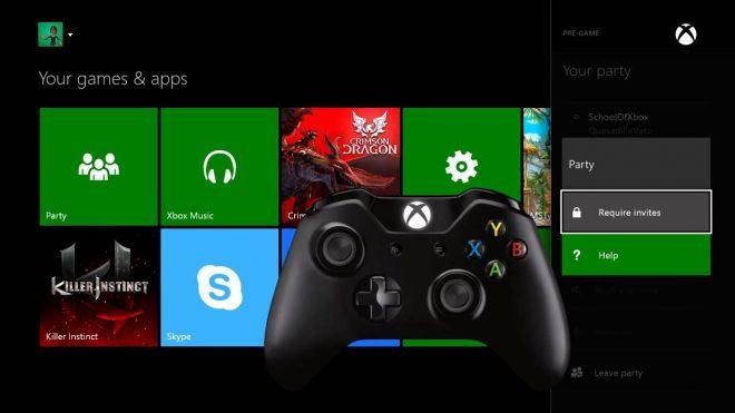 Interface de la Xbox One avec une manette au premier plan