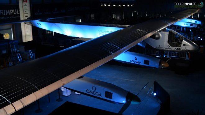 Le Solar Impulse 2 a été dévoilé le mercredi 9 avril 2014 à l'aéroport de Payerne, en Suisse.