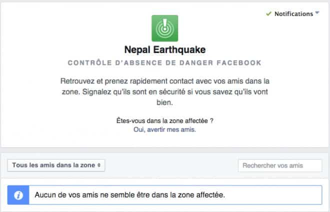 La page Facebook Safety Check pour la catastrophue au Népal