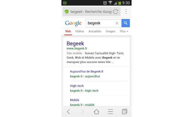 Moteur de recherche Google sur mobile.