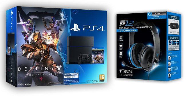 Le pack Pack PS4 500Go + Destiny le Roi des Corrompus + Micro-casque Turtle Beach en promotion à 389 euros chez Amazon.