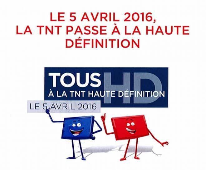 Le 5 avril 2016, l'ensemble du territoire français passera à la TNT HD