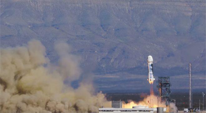 La fusée de Blue Origin au décollage le 22 janvier 2016 - capture d'écran de la vidéo