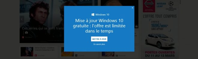 Le pop-up qui nous force à télécharger Windows 10