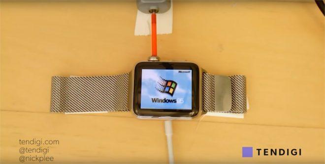 Windows 95 sur une Apple Watch - capture d'écran YouTube