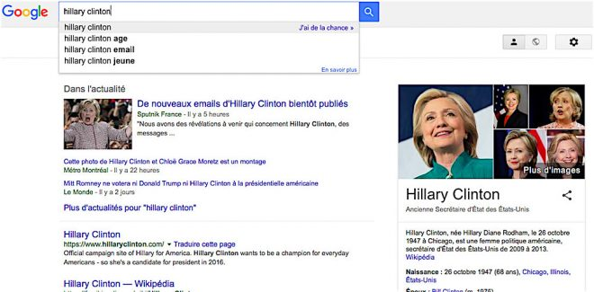 Google accusé de favoriser Hillary Clinton