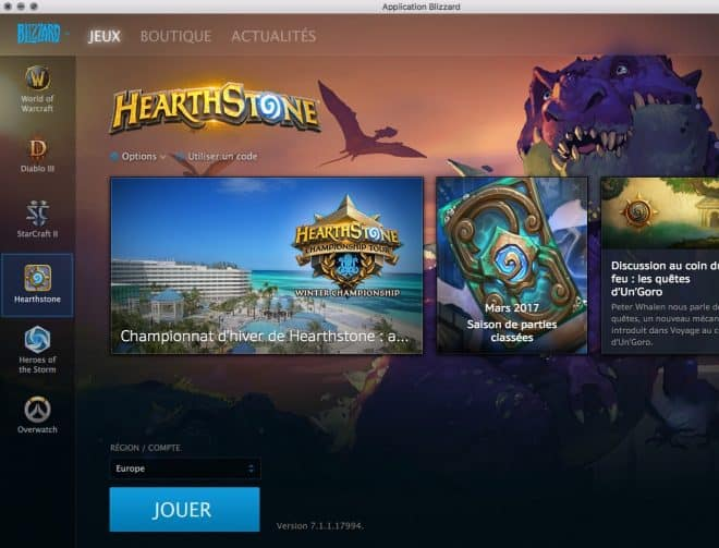 L'application Blizzard