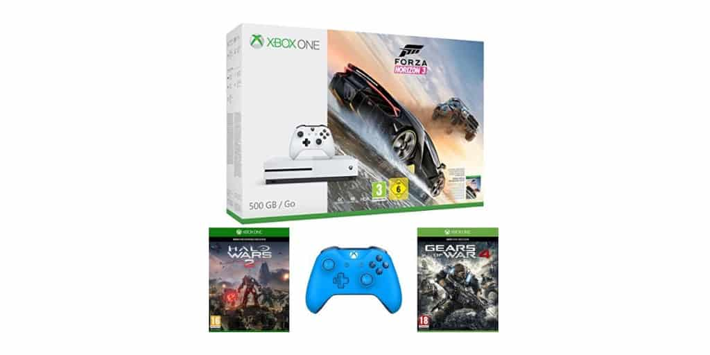 xbox one s 500 go forza horizon 3 halo wars 2 gears of war 4 2 me manette 329. Black Bedroom Furniture Sets. Home Design Ideas