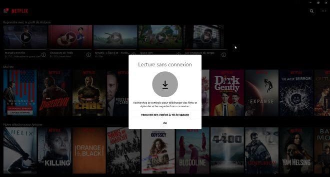 Le téléchargement hors-ligne sur Netflix version Windows 10