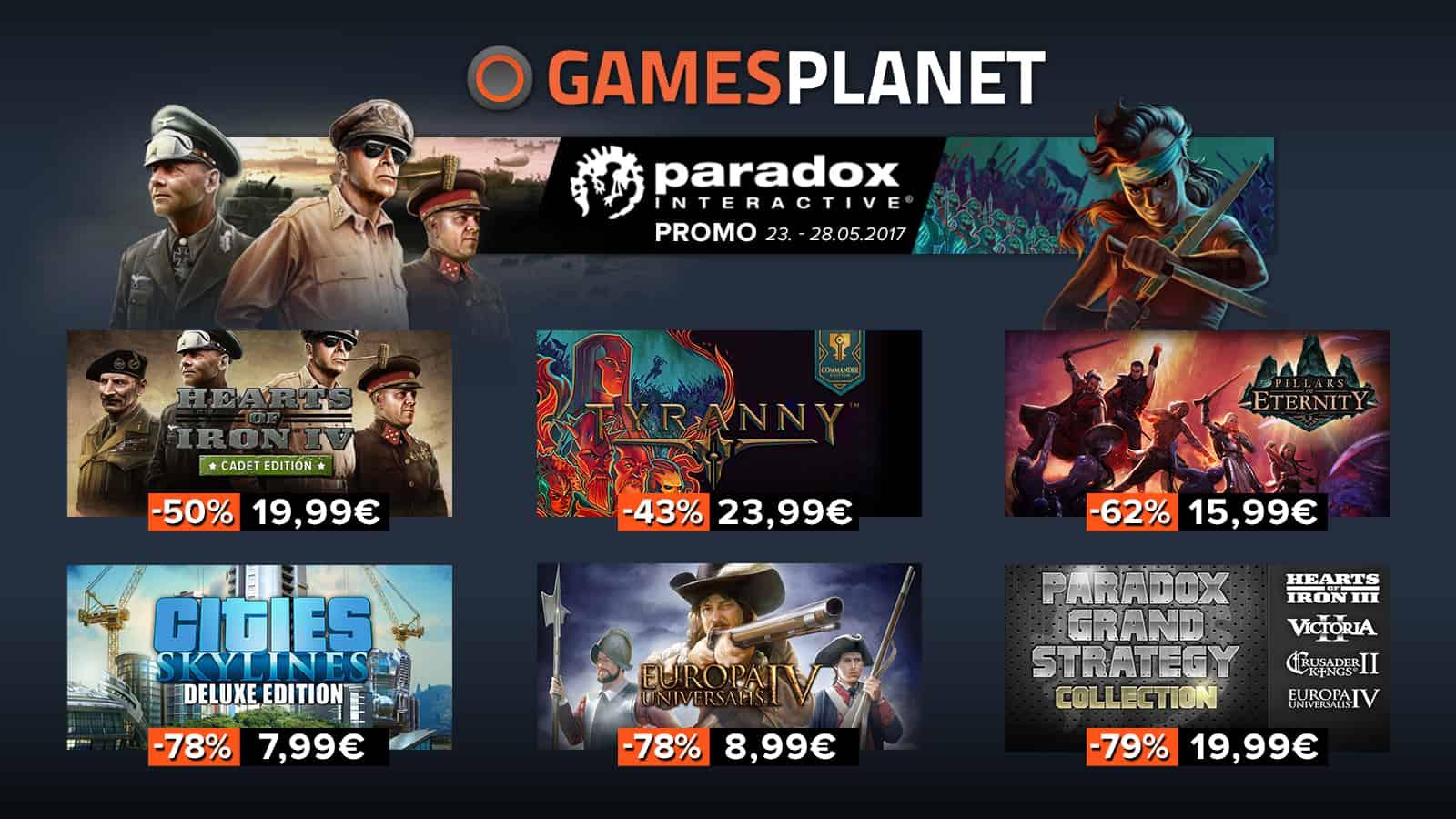 Paradox : plus de 80 jeux de l'éditeur en soldes sur Gamesplanet