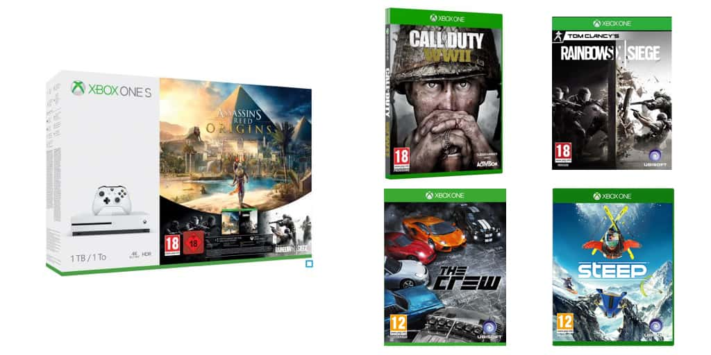 pack xbox one s 1 to cod wwii assassin 39 s creed origins 3 jeux 299. Black Bedroom Furniture Sets. Home Design Ideas