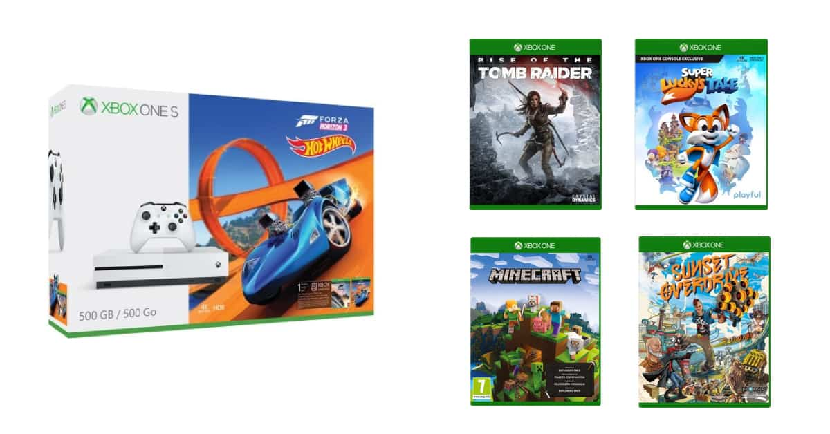 pack xbox one s 500 go forza hot wheels 4 jeux pour 279. Black Bedroom Furniture Sets. Home Design Ideas