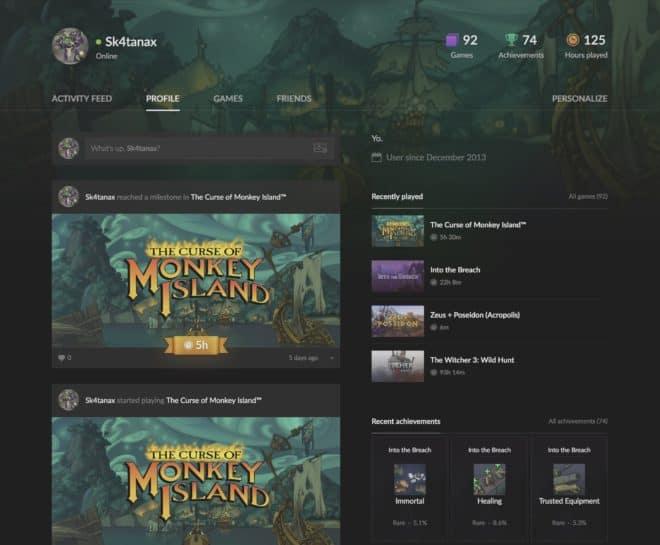 Une page de profil sur GOG