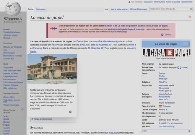 Les previews sur Wikipédia