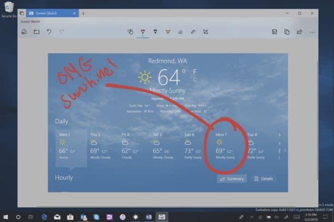La capture d'écran dans la prochaine mise à jour de Windows 10