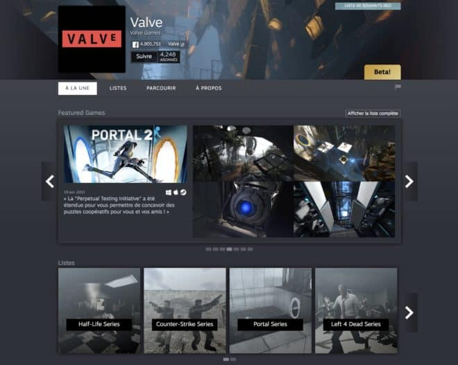 La page de Valve sur Steam