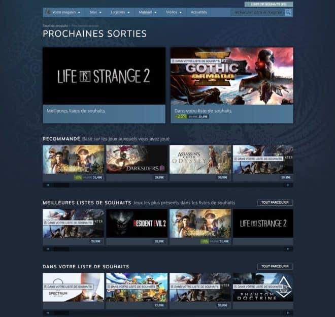 La page Prochaines Sorties de Steam