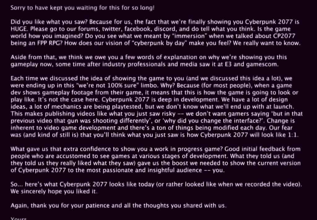 The hidden message from CD Project RED addressed to the players