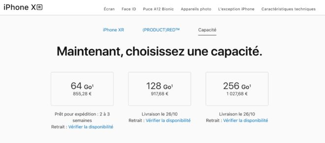 Apple iPhone XR délai livraison