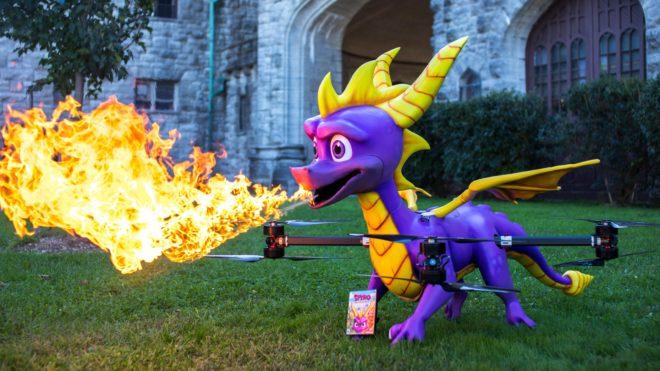 Un drone Spyro cracheur de feu pour célébrer le lancement de Spyro Reignited Trilogy.