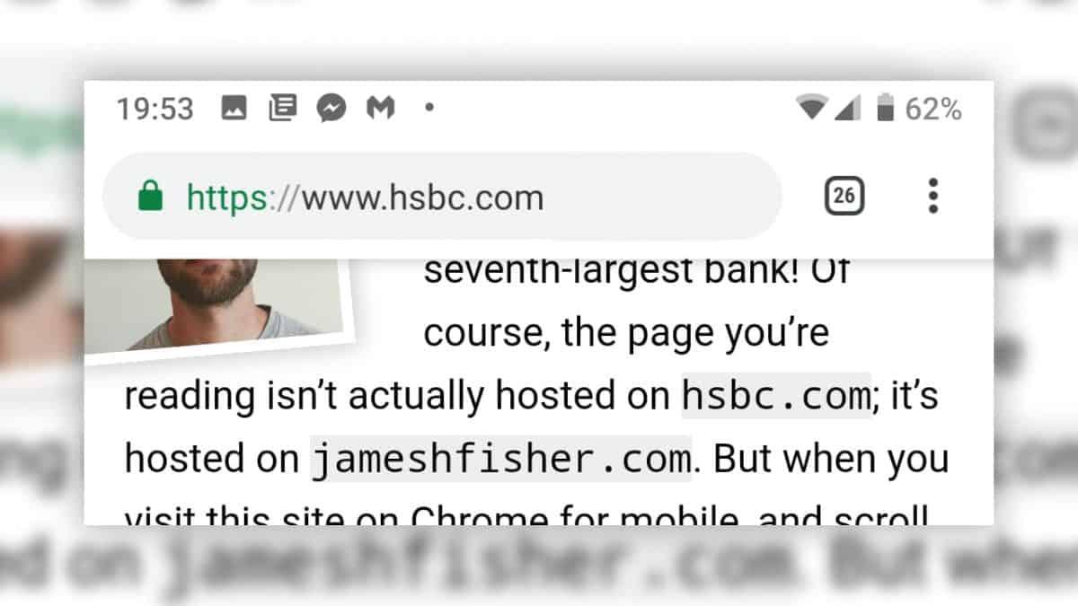 Chrome : du phishing avec une vraie fausse barre d'adresse dans le navigateur