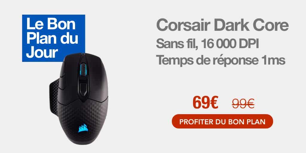 Bon plan : 30% de réduction sur la souris sans fil Corsair Dark Core RGB