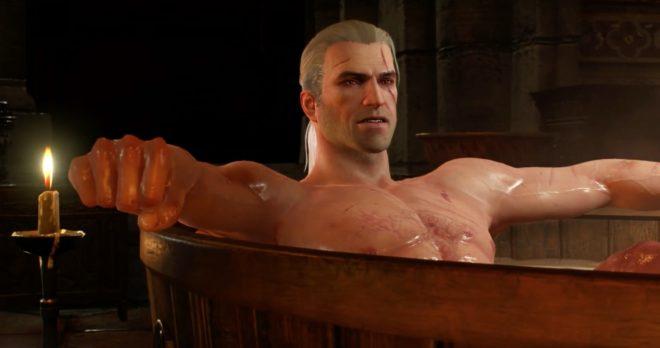 La statuette de Geralt dans son bain va être disponible dans le commerce.