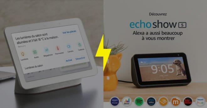 """Alors que Google annonçait le 28 mai la sortie de sonGoogle Nest Hub, un assistant vocal composé d'un écran tactile et d'une enceinte,Amazon répliquait presque aussitôt avec le Echo Show 5, un """"écran compact connecté à Alexa"""". Les deux solutions promettent de rendre votre vie quotidienne plus aisée à l'aide de leur assistant virtuel et […]"""