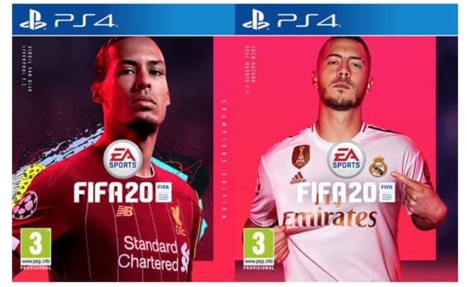 Eden Hazard et Virgil van Dijk en couverture de FIFA 20.