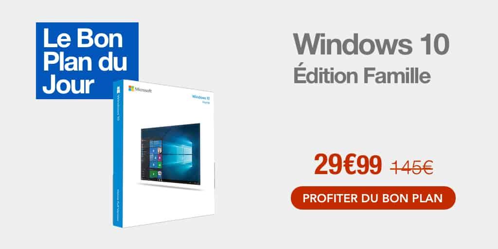 Bon plan : Windows 10 Edition Famille à 29€99