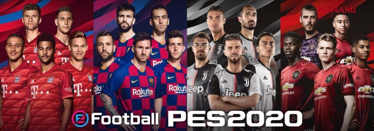 eFootball PES 2020 : une couverture avec Lionel Messi, Miralem Pjanic, Serge Gnabry et Scott McTominay