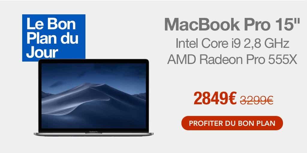 Bon plan : -450€ sur le MacBook Pro 15″ (i9, SSD 512 Go, RAM 16 Go, Radeon Pro 555X)