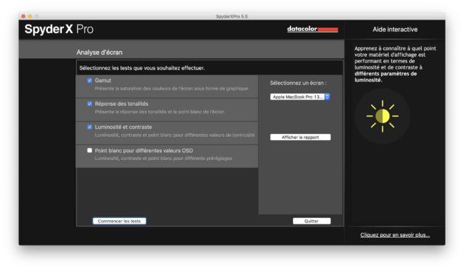 La page d'accueil de SpyderX Pro MQA