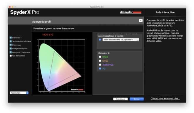Enfin les résultats vis-à-vis de la cible P3, espace de couleur d'Apple basé sur le standard DCI-P3 de l'industrie cinématographique américaine