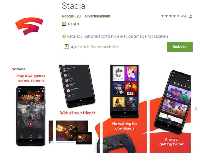 Le Play Store propose de télécharger Google Stadia.