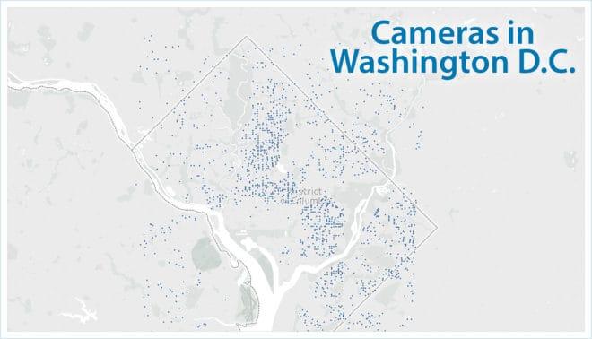 La concentration et la localisation des caméras Ring à Washington