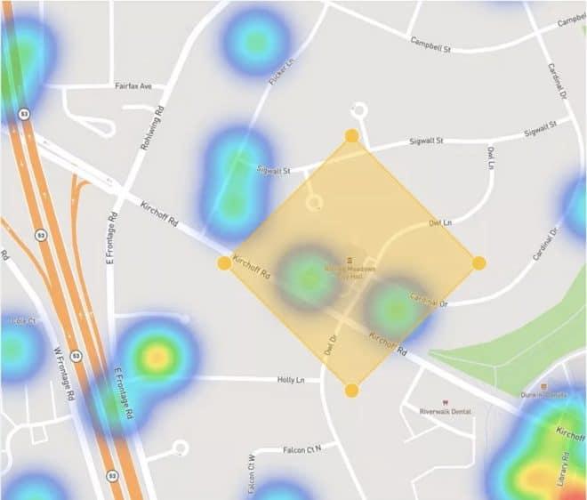 """Une """"heatmap"""" permettant de localiser les caméras Ring d'un quartier"""