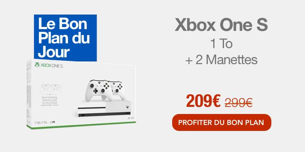 Bon plan : la Xbox One S 1 To + 2 manettes + 1 mois d'essai au Game Pass à 209€