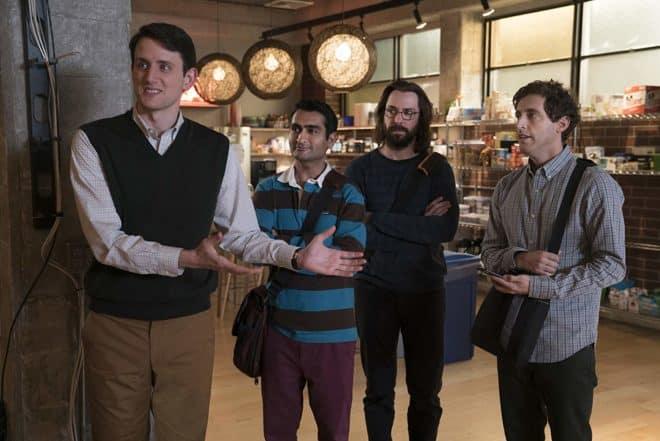 Zach Woods, Kumail Nanjiani, Martin Starr et  Thomas Middleditch dans Silicon Valley