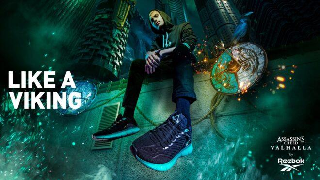 Assassin's Creed Valhalla fait sa promotion avec des sneakers.